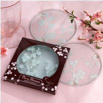 Cherry Blossoms Frosted Glass Coasters Wedding Favor 2ct