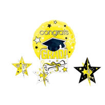 Yellow Congrats Grad Graduation Balloon Centerpiece 5pc