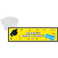 Yellow Personalized Graduation Banner 65in