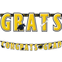 Yellow Graduation Letter Banner 10ft