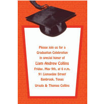 Custom Orange Congrats Grad Invitations