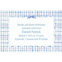 Blue Plaid with Ribbon Custom Birth Announcements
