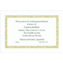 Narrow Sage Damask/White Custom Invitation