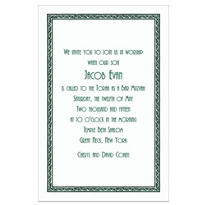 Green Tapestry Border/White Custom Invitation