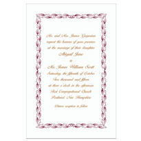 Maroon Leaf Scroll/White Custom Invitation