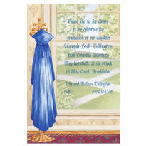 Blue Graduate's Gown on Hook Custom Graduation Invitation