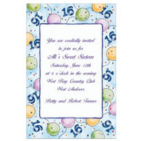 Party Balloons 16 Custom Invitation