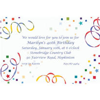 Confetti & Streamers Custom Invitation