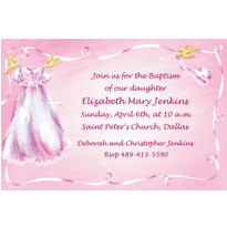 Christening Gown on Pink Custom Invitation