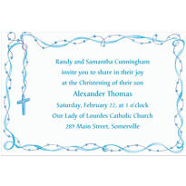 Rosary with Blue Ribbon Custom Invitation