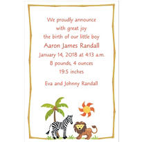 Zebra & Friends Custom Birth Announcement