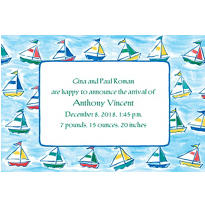 Sailing Sailboats Custom Birth Announcements