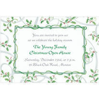 Sweet Tossed Holly Custom Invitation