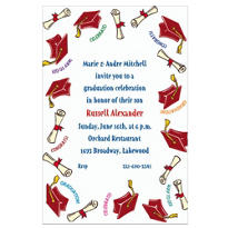Red Tossed Grad Caps Custom Graduation Invitation