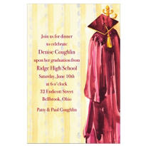 Burgundy Graduation Gown Custom Graduation Invitation