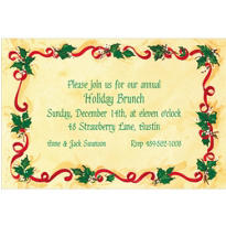 Holly & Ribbon Custom Invitation