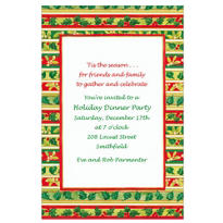 Stripes with Holly & Mistletoe Custom Invitation