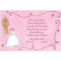 Bride & Groom with Swirls Custom Wedding Invitation