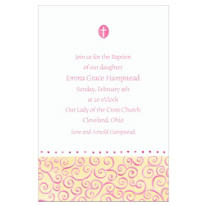Tiny Pink Cross with Swirls Custom Invitation