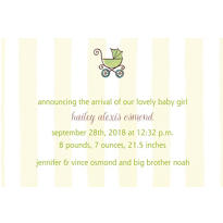 Tiny Carriage on Stripe Custom Birth Announcements