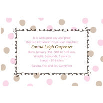 Pink Dots Border Custom Birth Announcements