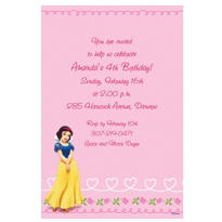 Snow White on Hearts & Swirls Custom Invitation