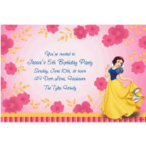 Snow White on Flower Pattern Custom Invitation