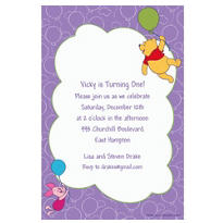 Pooh & Piglet with Balloons Custom Invitation