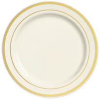 Cream Gold Trimmed Premium Plastic Dinner Plates 10ct