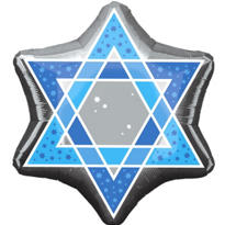 Foil Star of David Balloon 21in