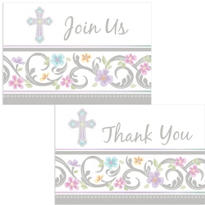 Blessed Day Religious Invitations and Thank You Note Set 16ct