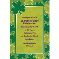 Playful Shamrocks Custom St. Patricks Day Invitation