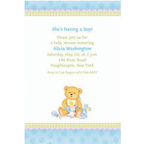 Blue Precious Bear Baby Shower Custom Invitations