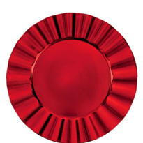 Red Metallic Ruffle Plastic Charger 13in