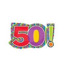 50th Birthday Dots & Stripes Foil Balloon 29in