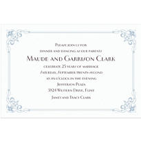 Flourish Corners Silver Custom Invitation