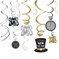 Gold & Silver 2013 New Years Hanging Swirl Decorations 12ct