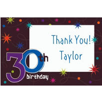 The Party Continues 30th Birthday Custom Thank You Note