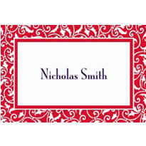 Red Ornamental Scroll Custom Thank You Note