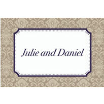 Classic Damask Border Navy Custom Thank You Note
