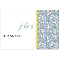 Decorative Damask Yellow Custom Thank You Note