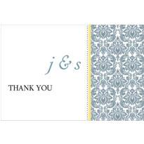 Decorative Damask Yellow Custom Thank You Note