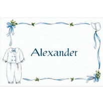 Boy's Christening Outfit Custom Thank You Note