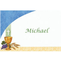 Custom Chalice with Blue Pattern Thank You Notes