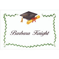 Custom Black Mortarboard & Ivy Graduation Thank You Notes