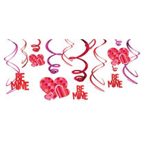 Valentines Day Be Mine Swirl Decorations 12pc