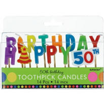 Dots and Stripes 50th Birthday Cake Candle Picks