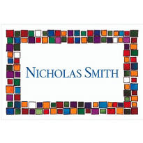Colorful Mosaic Border Custom Thank You Note