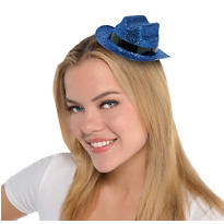 Blue Glitter Mini Cowboy Hat 2 1/8in