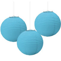 Caribbean Blue Paper Lanterns 3ct